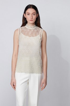 Floral-lace sleeveless top with stand collar, White