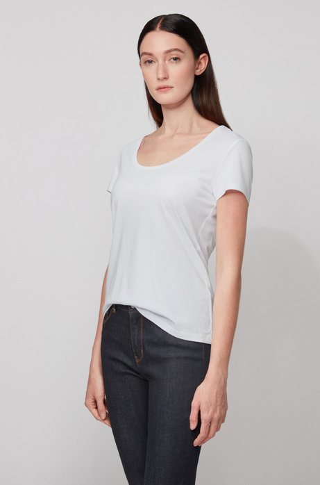 Slim-fit scoop-neck T-shirt in cotton with modal, White