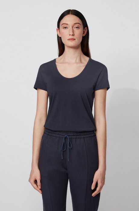 Slim-fit scoop-neck T-shirt in cotton with modal, Light Blue