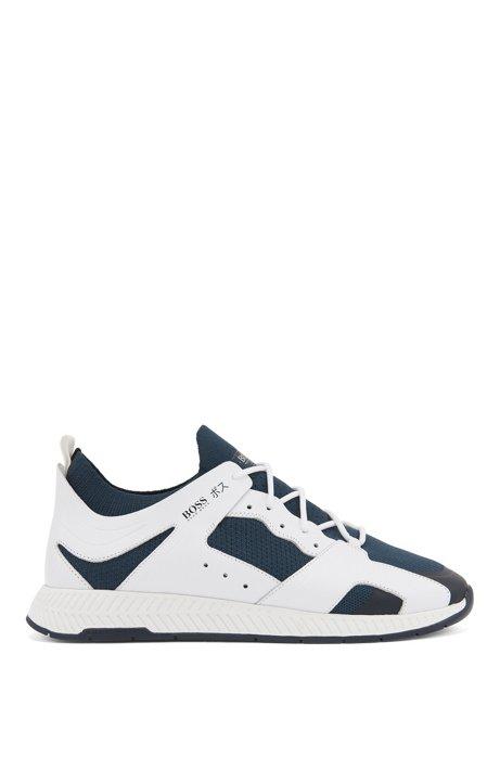 Sock-Sneakers mit Lederbesatz und Tokio-Artwork, Hellblau