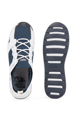 Leather-trimmed sock trainers with Tokyo artwork, Light Blue