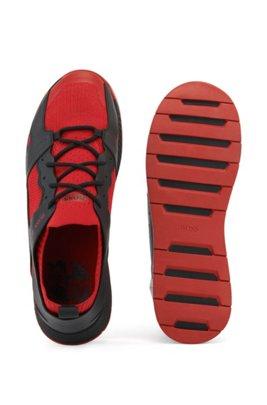 Sock-Sneakers mit Lederbesatz und Tokio-Artwork, Hellrot