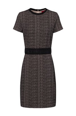 Short-sleeved dress in interrupted geometric jacquard jersey, Patterned