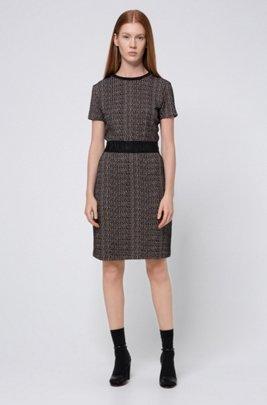 Kurzarm-Kleid aus Jersey mit geometrischem Jacquard-Muster, Gemustert
