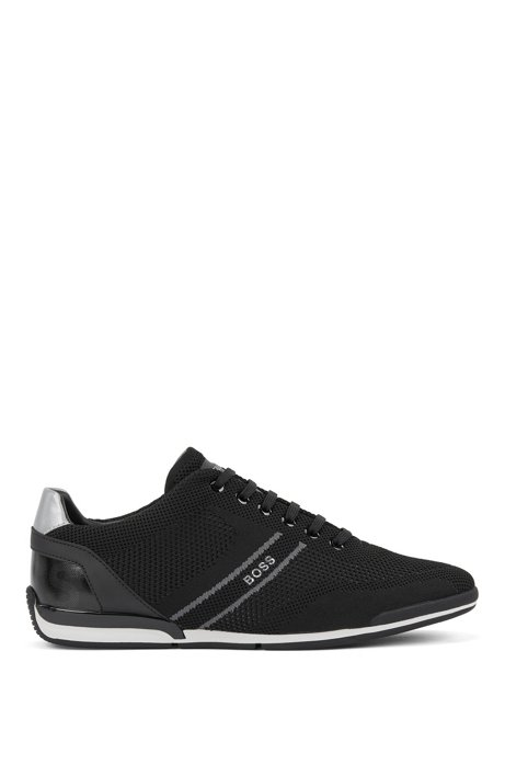 Low-top trainers with knitted uppers, Black