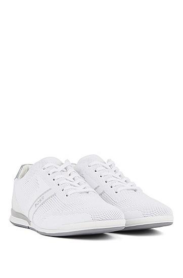 男士针织鞋面低帮运动鞋,  120_淡白色
