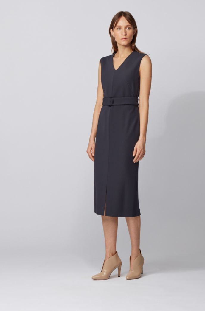Mouwloze shiftdress in een stretchtwill met ceintuur in de taille