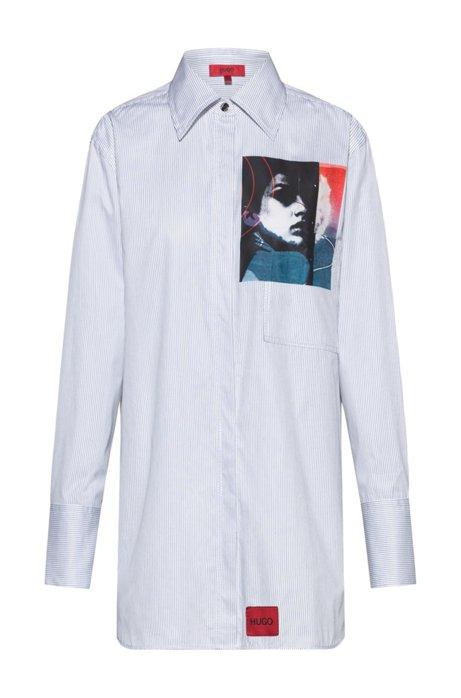 Relaxed-Fit Bluse aus Baumwolle mit Grafik-Print der neuen Saison, Gemustert