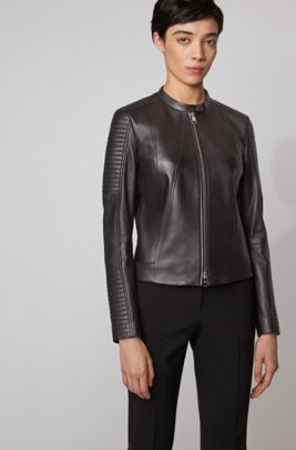 Regular-fit nappa-leather jacket with stand collar, Black