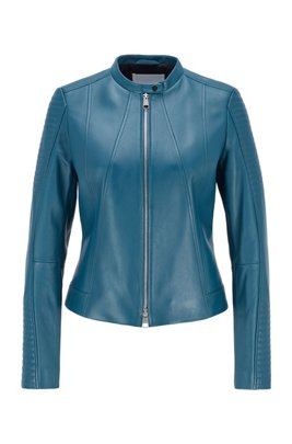 Regular-fit nappa-leather jacket with stand collar, Dark Blue