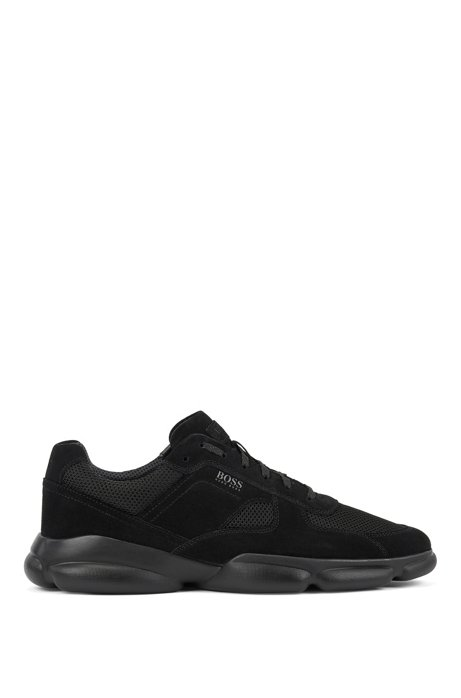 Low-top trainers in tonal suede and mesh, Black