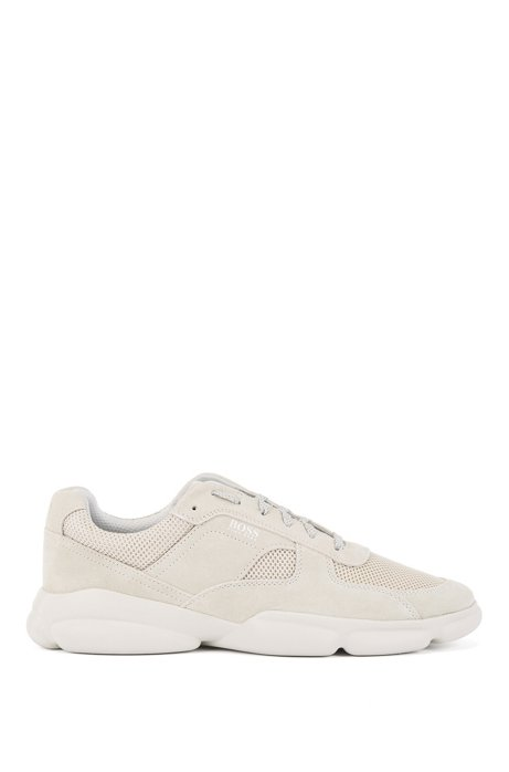 Low-top trainers in tonal suede and mesh, Light Beige