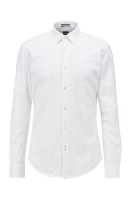 Slim-fit shirt in washed cotton piqué, ホワイト