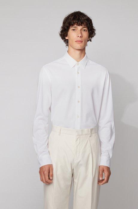 Slim-Fit Hemd aus gewaschenem Baumwoll-Piqué, Weiß