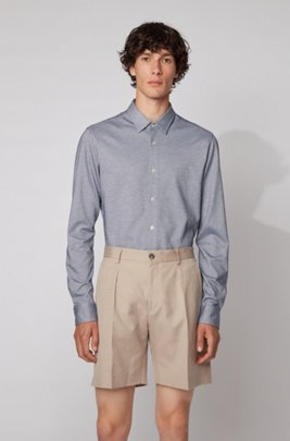 Slim-fit shirt in washed cotton piqué, ダークブルー