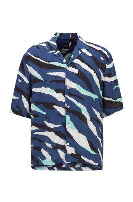 Regular-fit overhemd met seizoensprint en campkraag, Donkerblauw