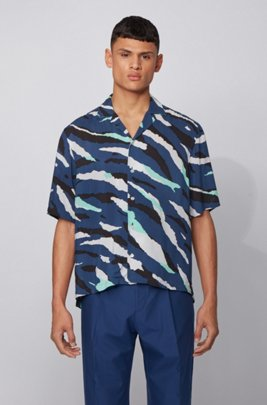 Regular-fit shirt with seasonal print and camp collar, ダークブルー