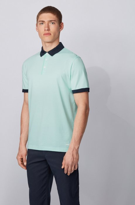 Poloshirt aus Baumwoll-Jersey mit Logo-Print, Hellgrün