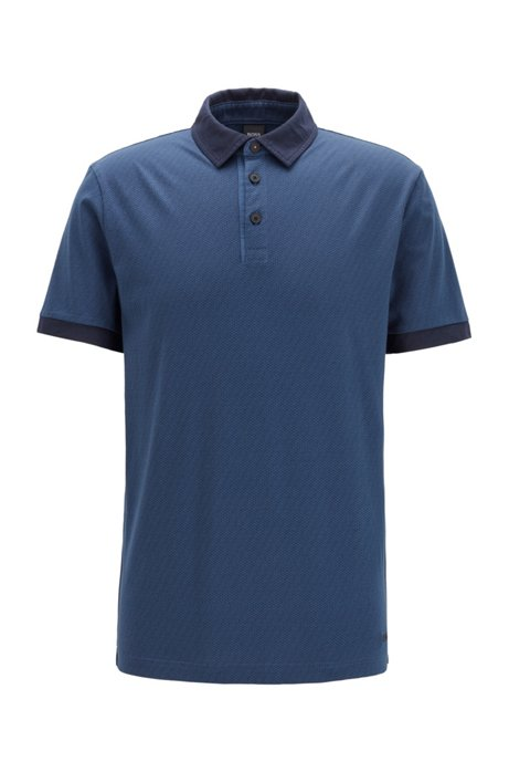 Cotton-jersey polo shirt with logo print, Dark Blue