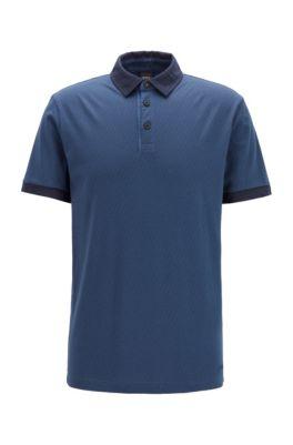 Poloshirt aus Baumwoll-Jersey mit Logo-Print, Dunkelblau