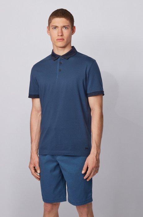 Polo in jersey di cotone con logo stampato, Blu scuro