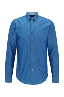 Slim-fit overhemd van katoen met een dobbystructuur, Donkerblauw