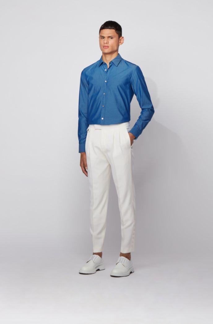 Slim-fit overhemd van katoen met een dobbystructuur