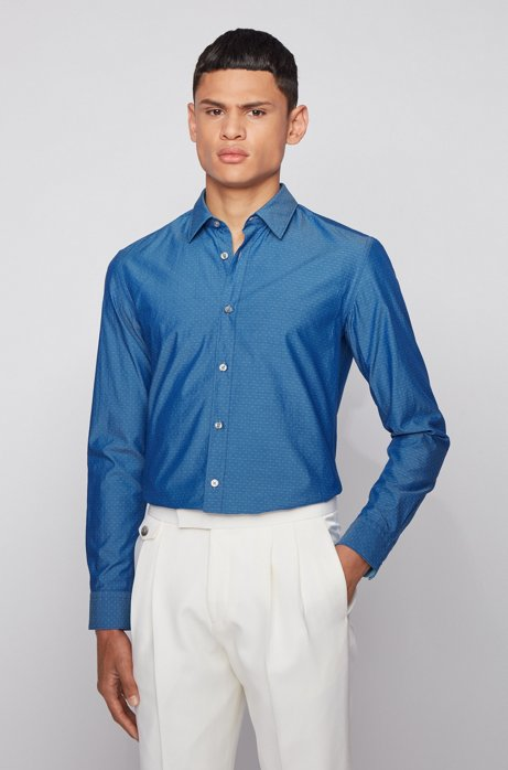 Slim-fit shirt in cotton with dobby weave, Dark Blue