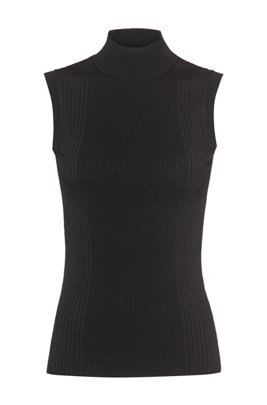 Sleeveless mock-neck top with ribbed structures, Black