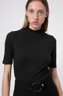 Slim-fit mock-neck top in ribbed jersey, Black