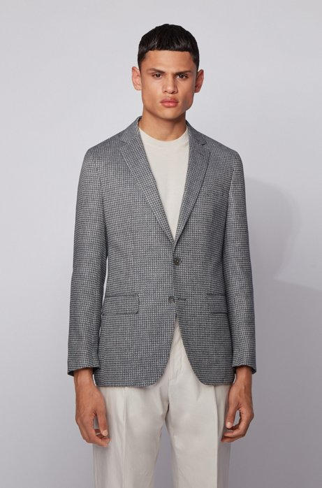 Slim-fit jacket in patterned fabric with linen, Grey