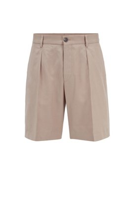 Relaxed-fit pleat-front shorts in cotton with linen, Light Beige