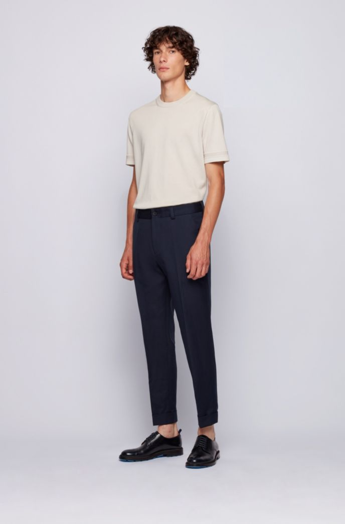 Relaxed-fit cropped trousers in cotton with linen