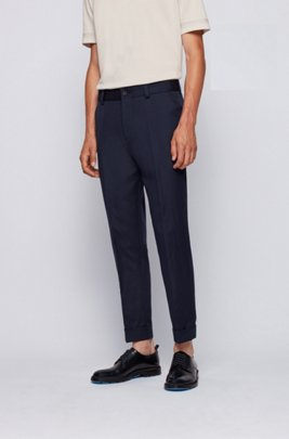 Relaxed-fit cropped trousers in cotton with linen, Dark Blue