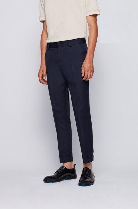 Relaxed-Fit Hose aus Baumwolle mit Leinen in Cropped-Länge, Dunkelblau