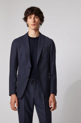 Slim-fit jacket in virgin wool with patch chest pocket, Dark Blue