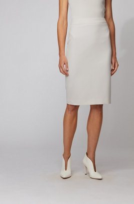 Pencil skirt in double-faced stretch fabric, White