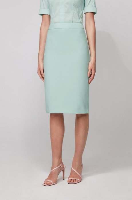 Pencil skirt in double-faced stretch fabric, Turquoise