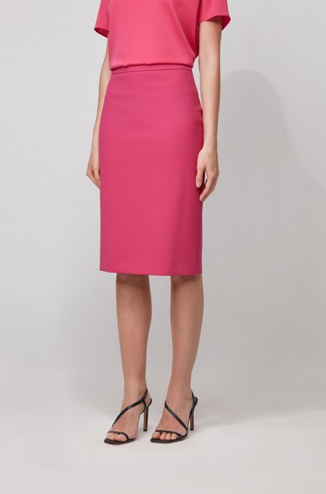 Pencil skirt in double-faced stretch fabric, Pink