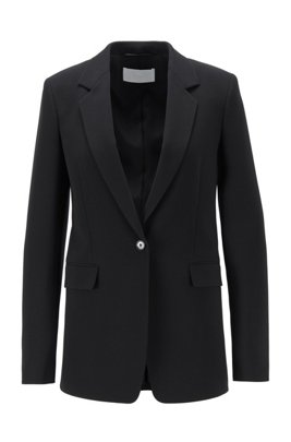 Relaxed-fit blazer in kreukbestendige crêpe met stretch, Zwart