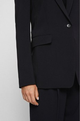 Relaxed-fit blazer in kreukbestendige crêpe met stretch, Zwart