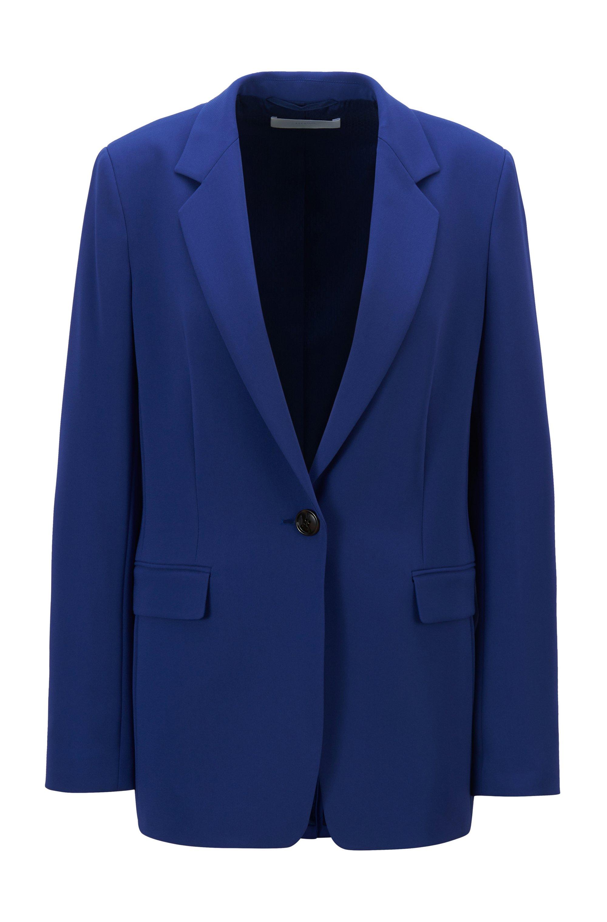 Relaxed-Fit Blazer aus knitterfreiem, dehnbarem Krepp, Blau