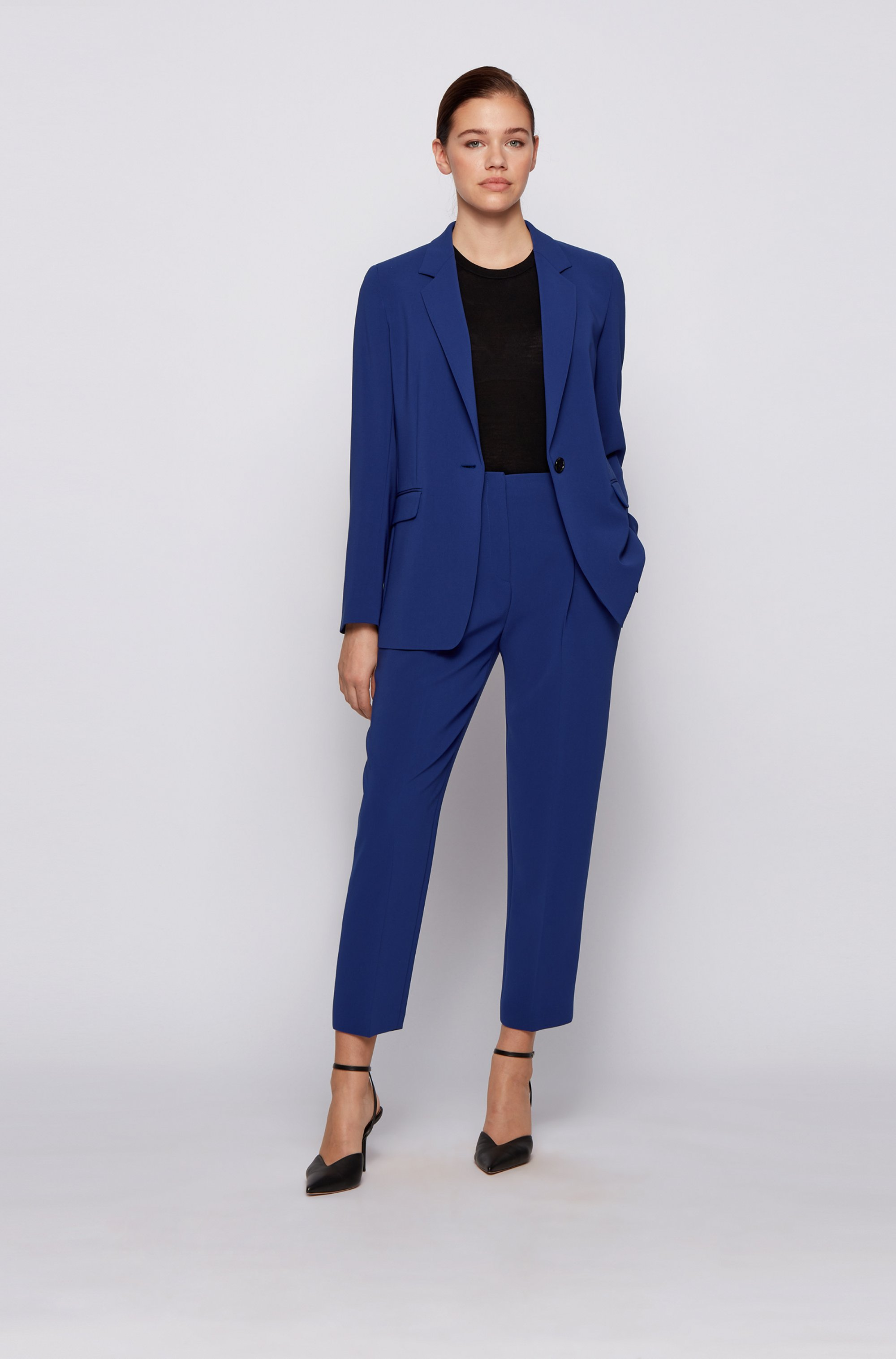 Relaxed-fit jacket in crease-resistant crepe with stretch