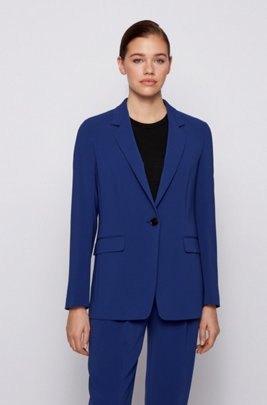 Relaxed-fit jacket in crease-resistant crepe with stretch, Blue