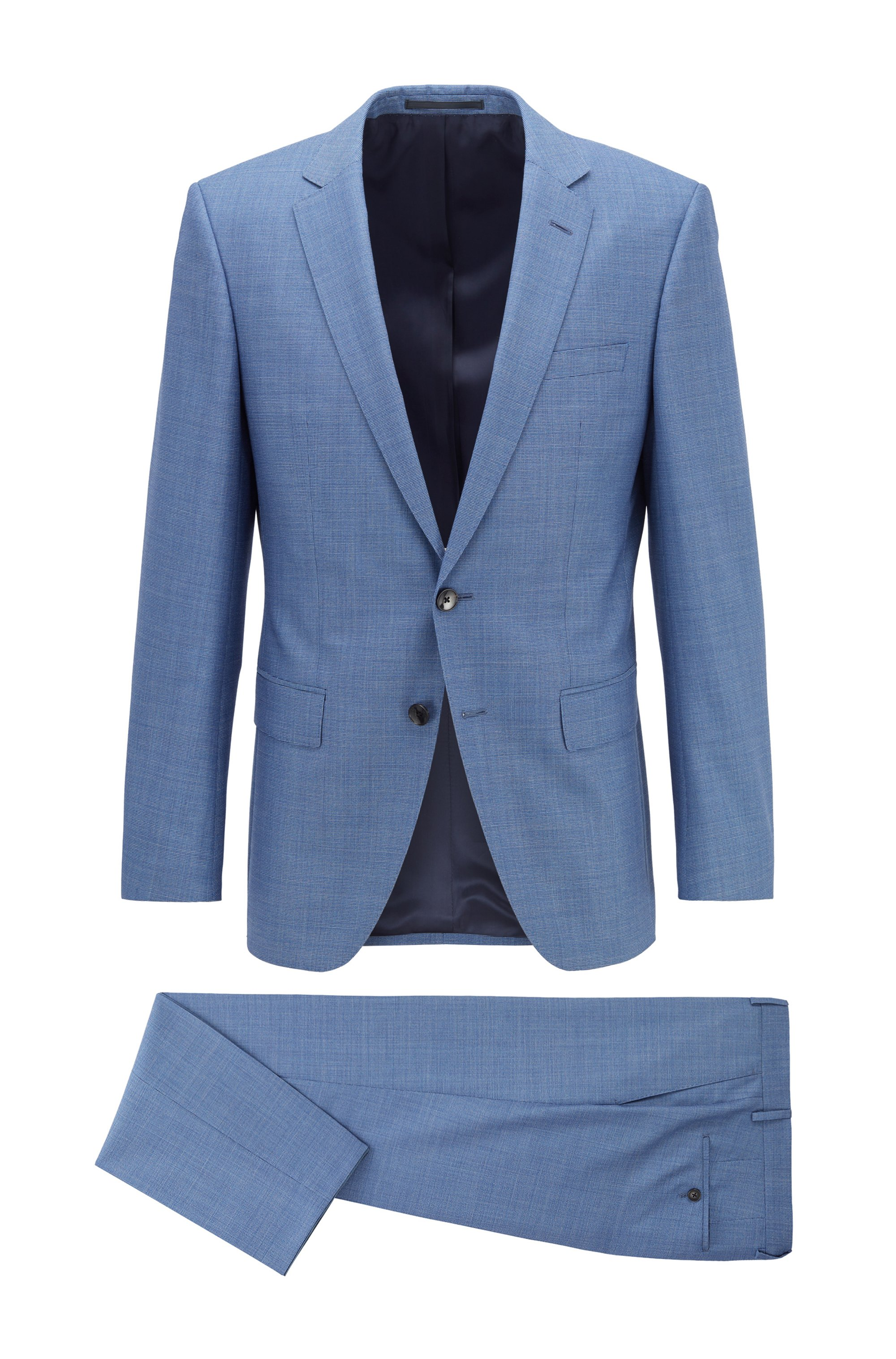 Slim-fit suit in micro-patterned virgin wool, Turquoise