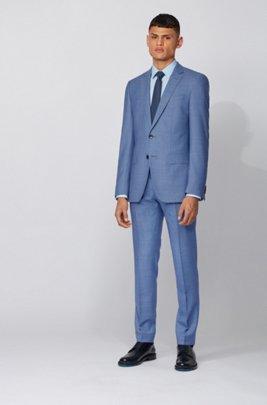 Slim-Fit Anzug aus dezent gemusterter Schurwolle, Türkis