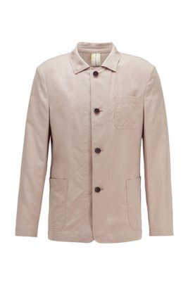Slim-fit jacket in cotton with linen, Light Beige