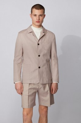 Slim-fit jacket in cotton with linen, ライトベージュ