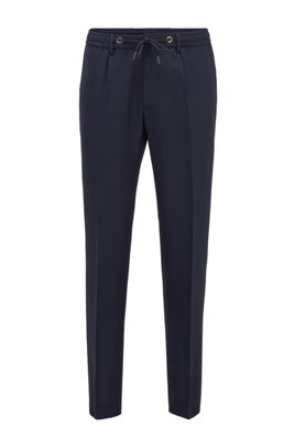 Slim-fit trousers in virgin wool with drawstring waist, ダークブルー