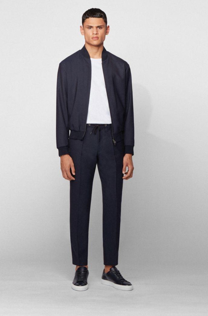 Slim-fit pantalon van scheerwol met tailleband met trekkoord